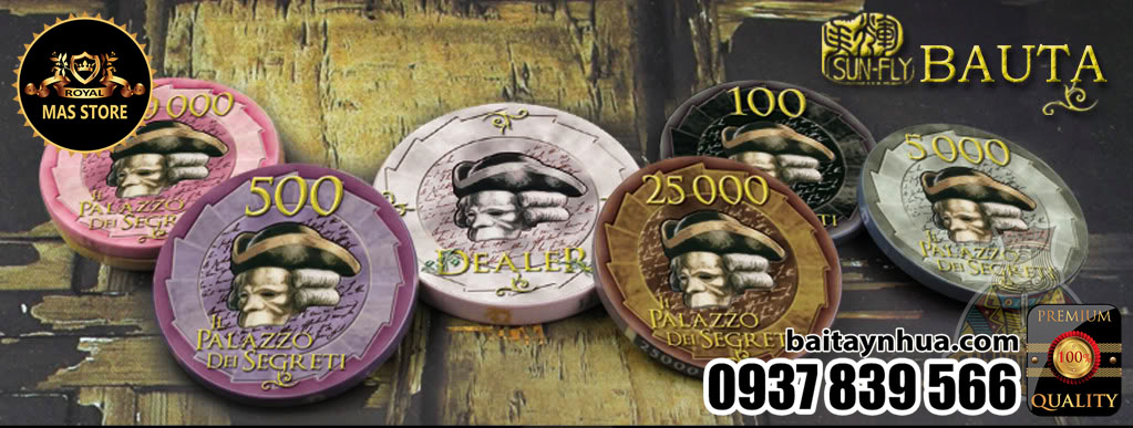 500 Chips BAUTA 100% Ceramic - Vali Gỗ