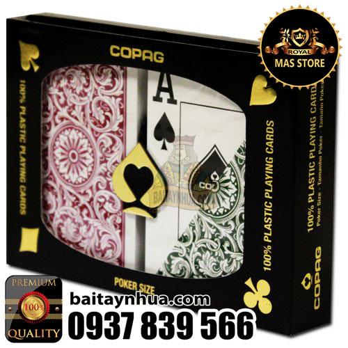 Bài Poker COPAG Cao Cấp 100% Plastic -  GREEN/BURGUNDY