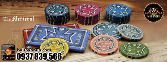 500 Chips MEDIEVAL 100% Ceramic - Vali Gỗ
