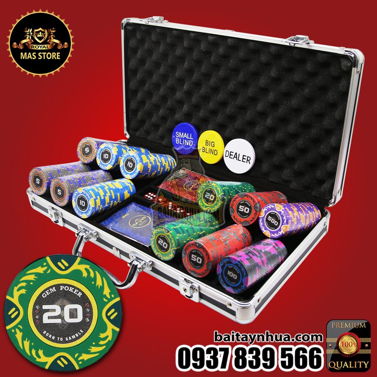 300 Chip Poker POSEIDON Có Số Cao Cấp - GPC02 - 2020