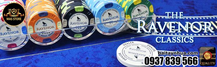 500 Chips RAVENOR CLASSIC 100% Ceramic - Vali Gỗ