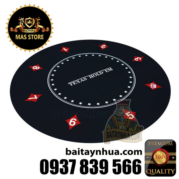 Thảm Poker Tròn Cao Su Cao Cấp -  Black