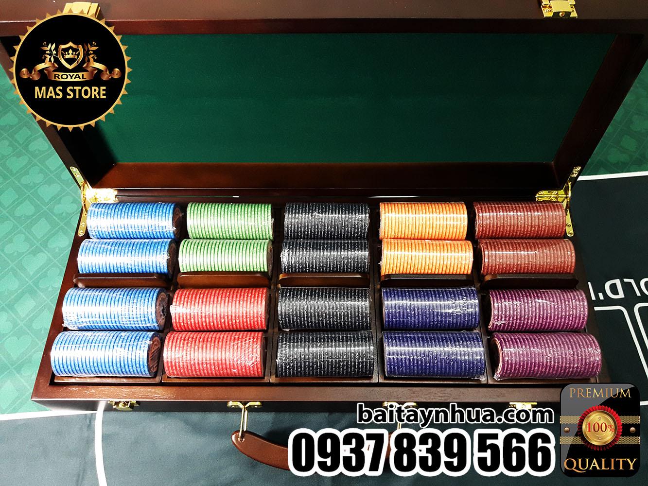 500 Chips Poker AMERICA`S HISTORY 100% Ceramic - Vali Gỗ